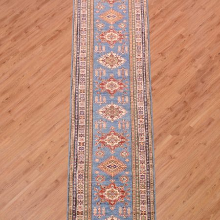 Breathtaking blue Fine Afghan Kazak Runner, handmade with a handknotted wool pile.