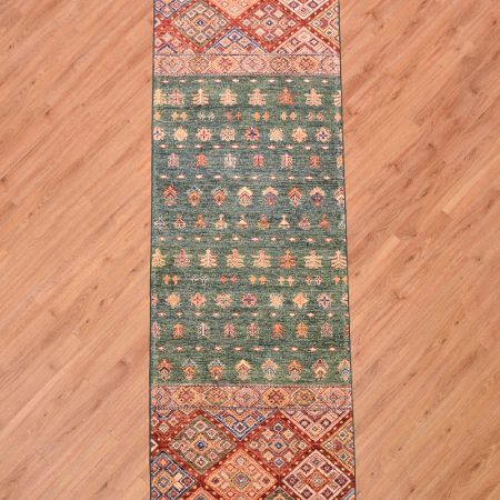 Funky handmade Fine Afghan Khorjin Runner inspired by the format of a saddle bag, this Afghan Runner has a green central panel.