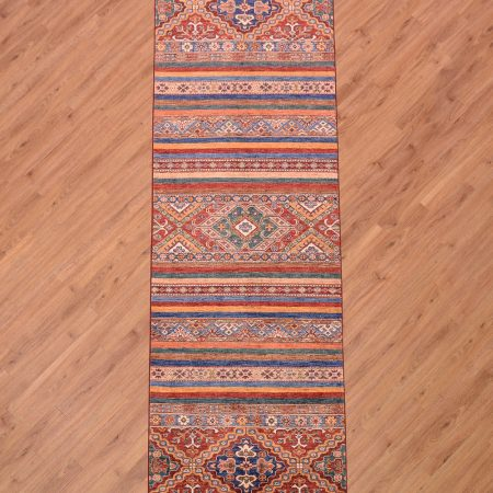 Stunning handmade Afghan Fine Khorjin Runner with design inspired by saddle bag and kilim patterns.