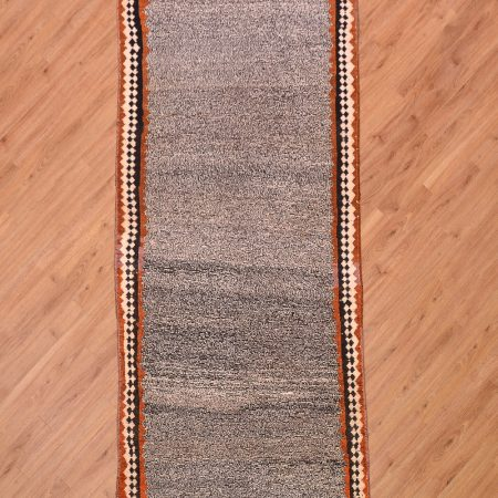 Cool handmade tribal Persian Salt & Pepper Gabbeh Runner in black and white with simple border surround.