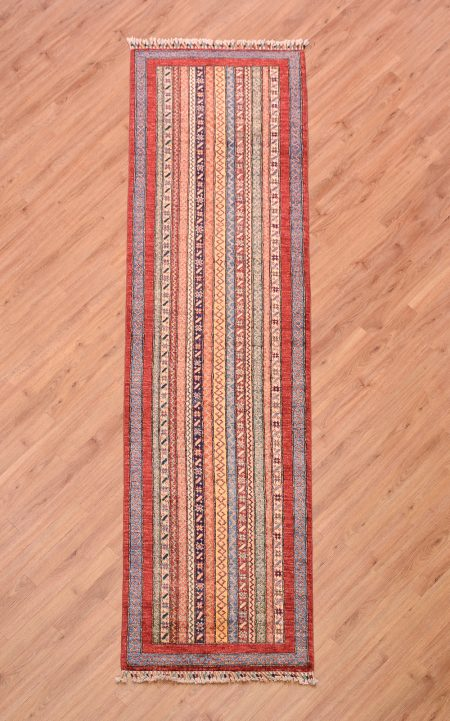 Jazzy handmade Afghan Shaal Runner with colourful design of stripes.