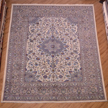 Elegant handmade/hand-knotted Persian Kashmar Carpet with medallion design and colours of cream, blue and grey.