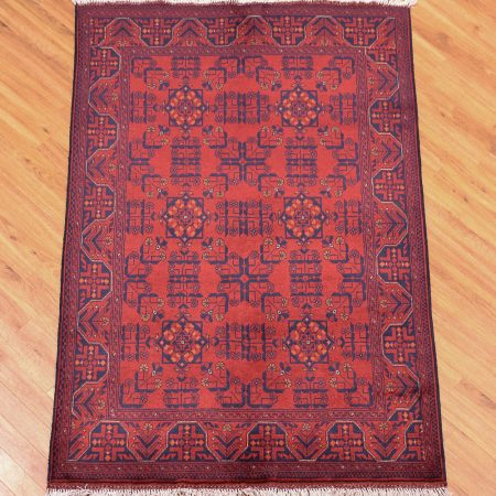 Traditional hand-knotted Afghan Khan Mohamadi Dozar Rug with classic all over design in colours of red and dark blue.