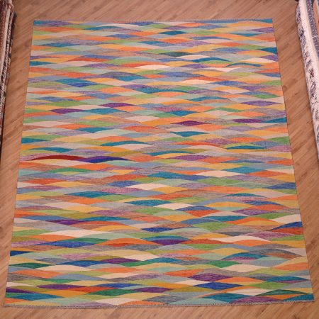 Jazzy handwoven Afghan Maimana Contemporary Kilim with bright multi-colour allover pattern.