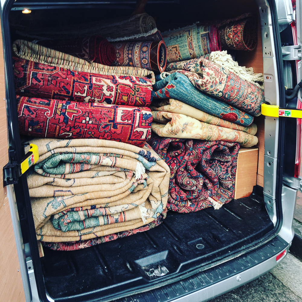 Van of Rugs for UK Delivery.