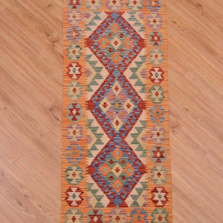 Handwoven Veg Dye Afghan Kilim Strip with 3 medallion design and orange border.