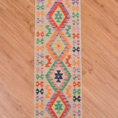 Stunning handwoven Afghan Kilim Short Runner with light blue / duck-egg background and 4 medallion design.
