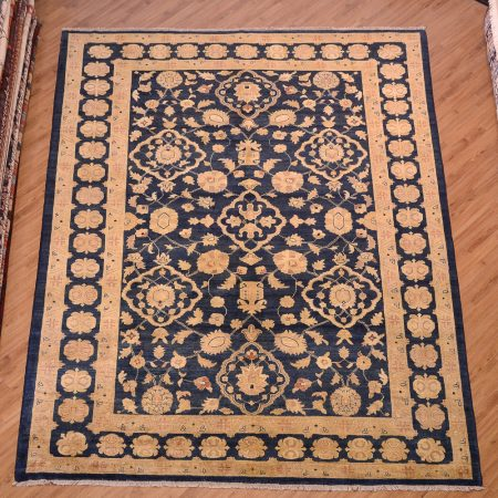 This handmade Afghan Blue & Gold Ziegler Carpet has a superb colour combination of dark blue and old gold with an allover design.